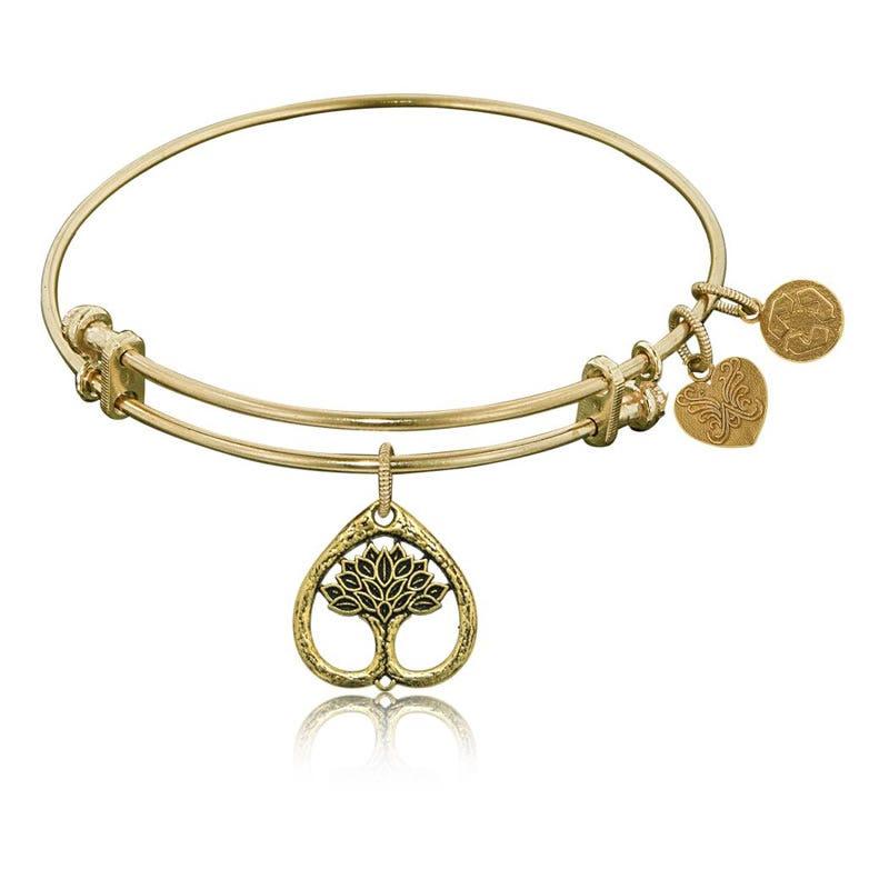 Tree of Life Charm Bangle Bracelet in Yellow Brass