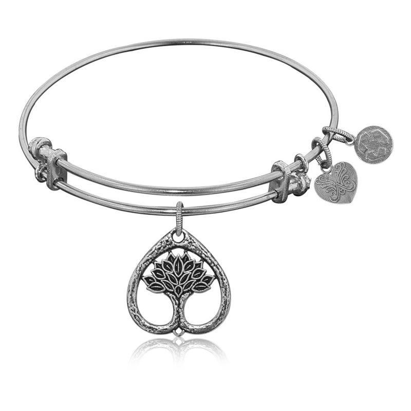 Tree of Life Charm Bangle Bracelet in White Brass