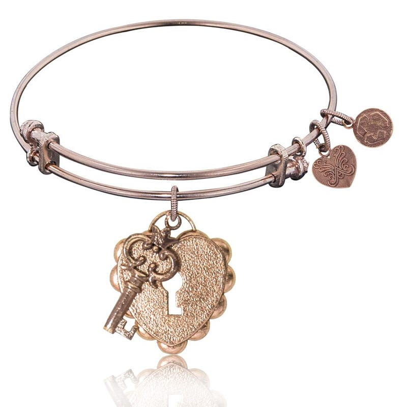 Key To My Heart Charm Bangle Bracelet in Pink Brass