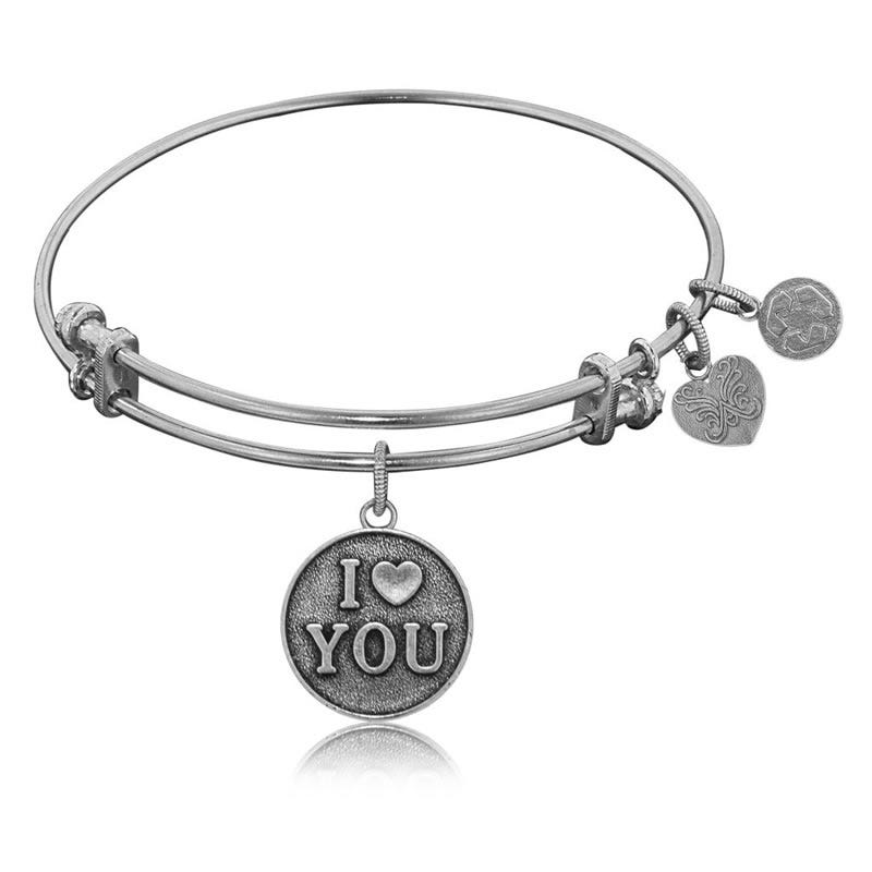 I Love You Round Charm Bangle Bracelet in White Brass