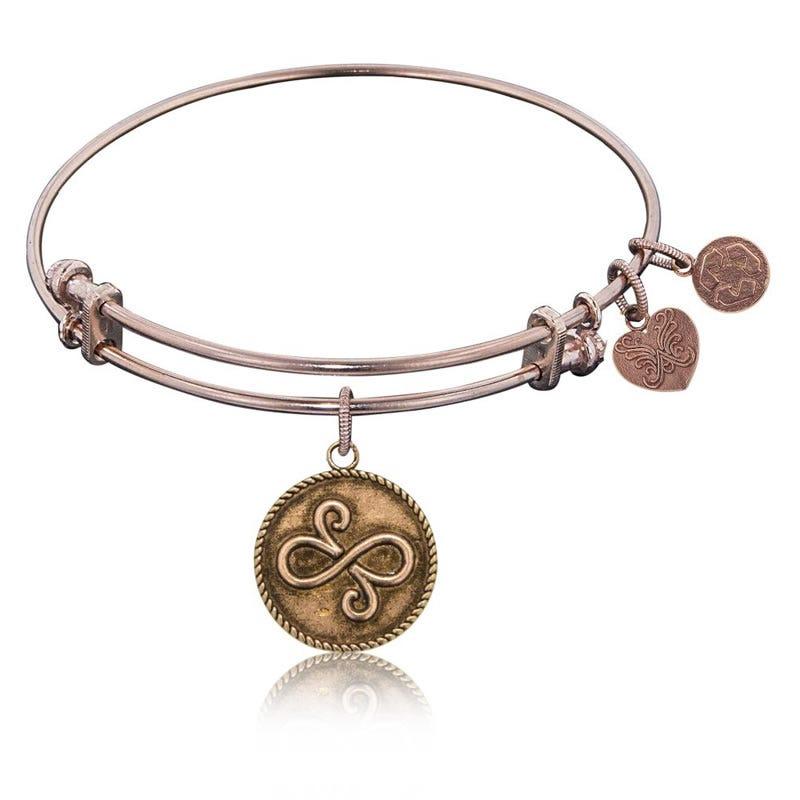 Best Friends Symbol Charm Bangle Bracelet in Pink Brass