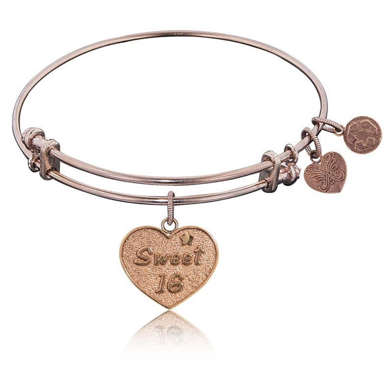 Sweet 16 Charm Bangle Bracelet in Pink Brass