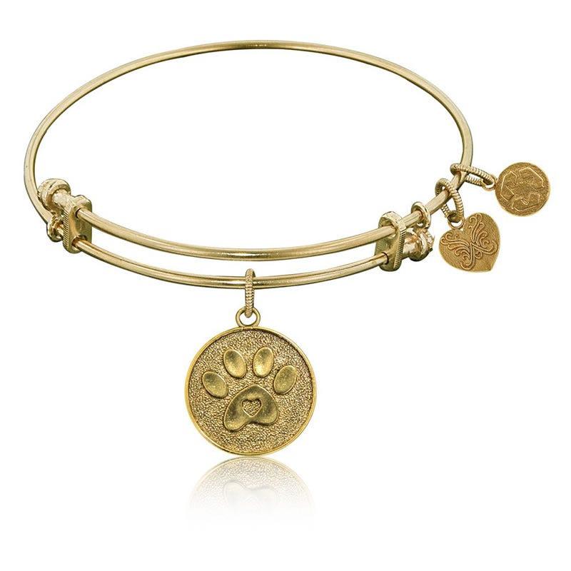 Paw Print Charm Bangle Bracelet in Yellow Brass