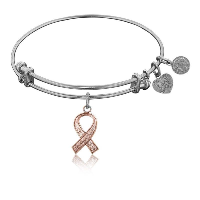 Pink Ribbon Charm Bangle Bracelet in White Brass