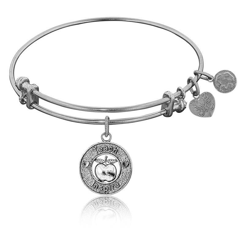 Apple-Teach-Inspire Charm Bangle Bracelet in White Brass
