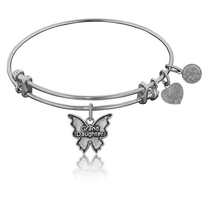 Granddaughter Charm Bangle Bracelet in White Brass