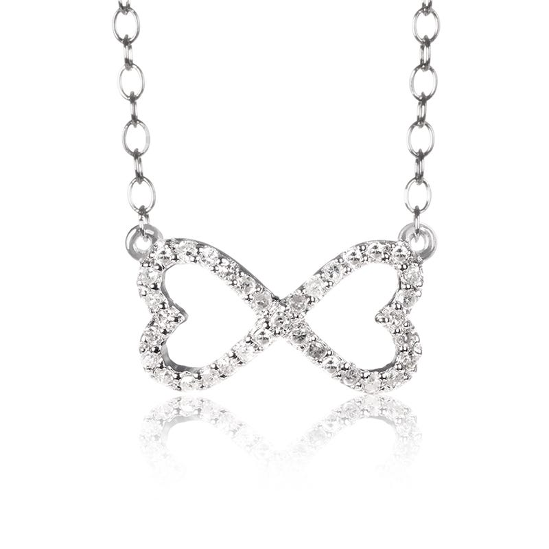 Diamond 2 Hearts Infinity Necklace in Sterling Silver