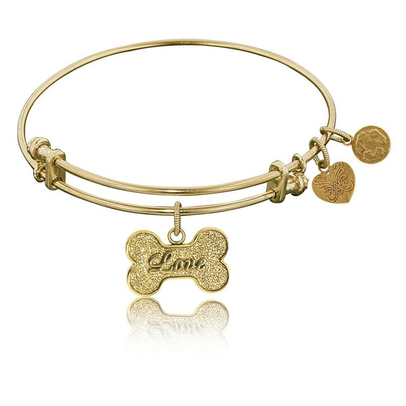 Love, Dog, Bone Charm Bangle Bracelet in Yellow Brass
