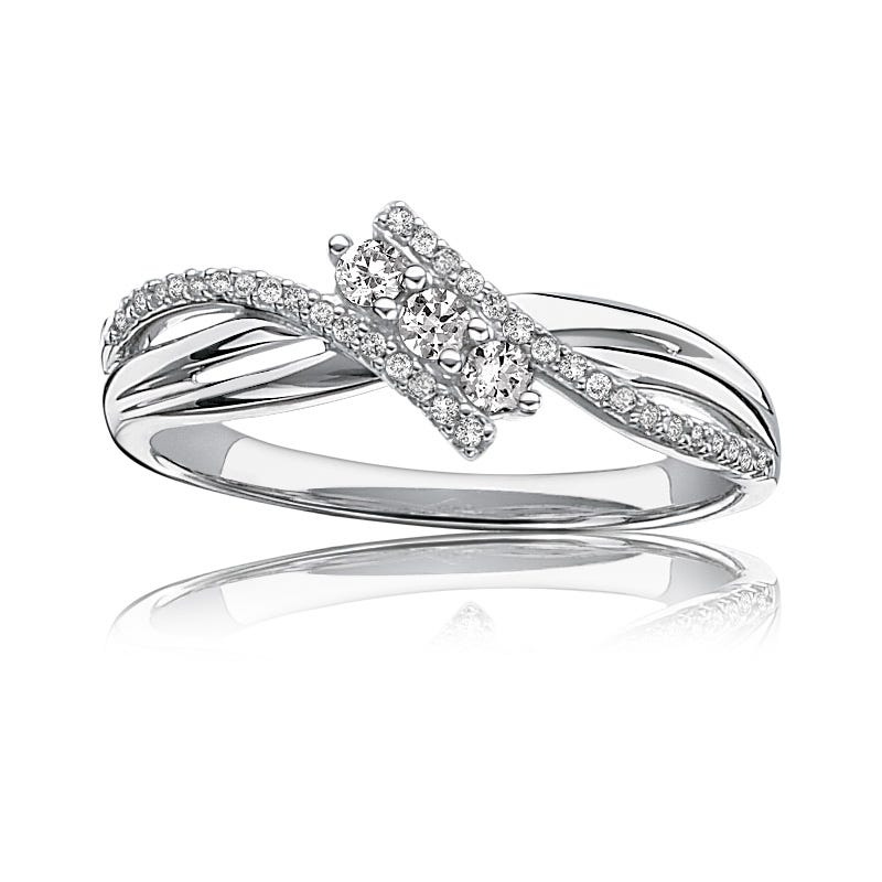 Diamond 1/4ct. Three-Stone Promise Ring in 10k White Gold