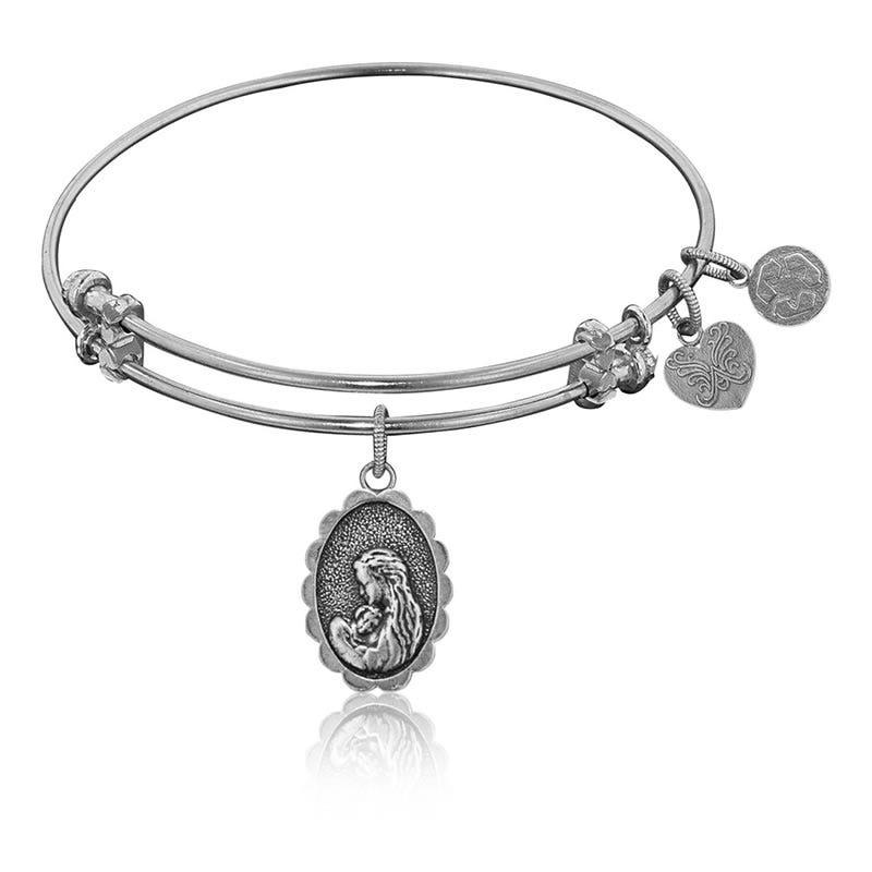 Mother's Love Charm Bangle Bracelet in White Brass