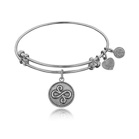 Best Friends Charm Bangle Bracelet in White Brass