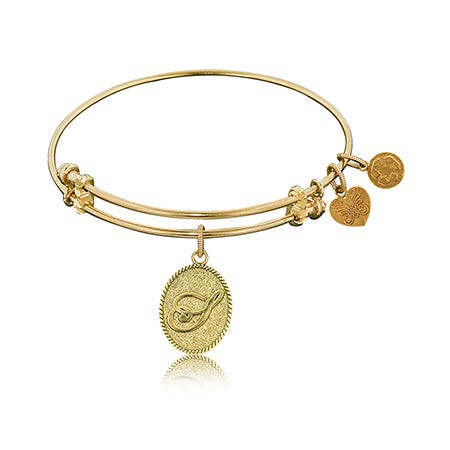 Initial S Charm Bangle Bracelet in Yellow Brass
