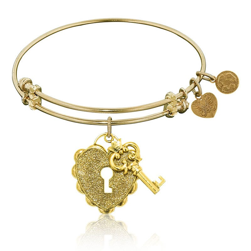 Key To My Heart Charm Bangle Bracelet in Yellow Brass
