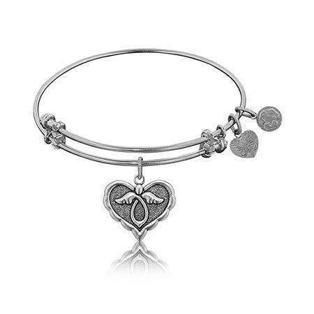 Angel Charm Bangle Bracelet in White Brass