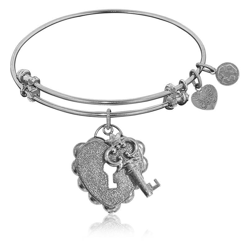 Key To My Heart White Brass Charm Bangle
