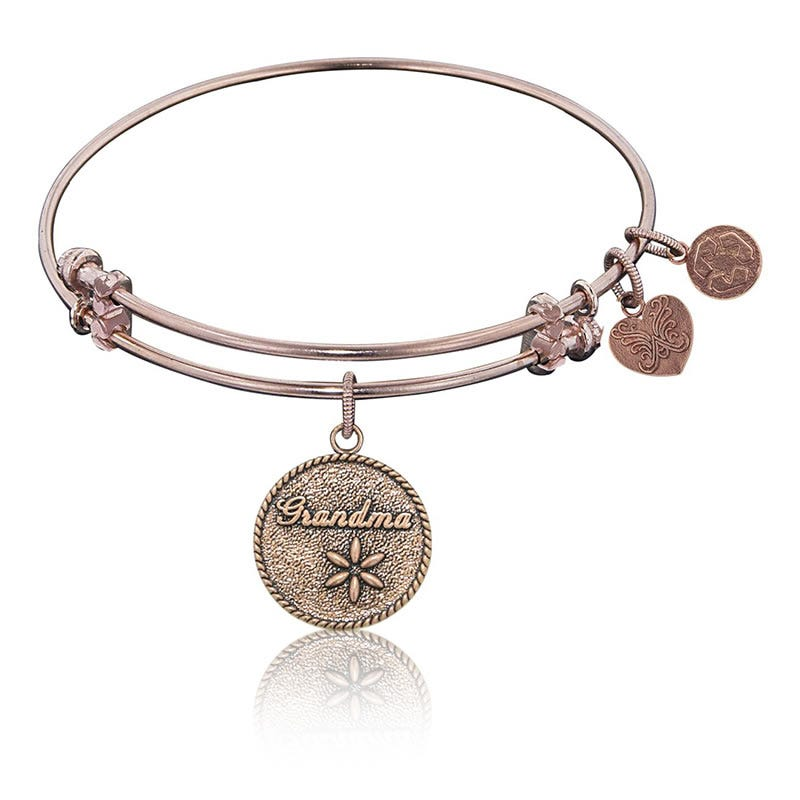 Grandma Flower Charm Bangle Bracelet in Pink Brass