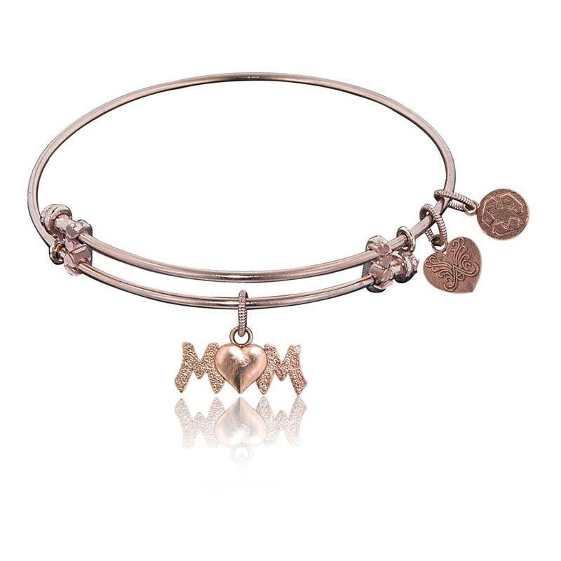MOM Charm Bangle Bracelet in Pink Brass