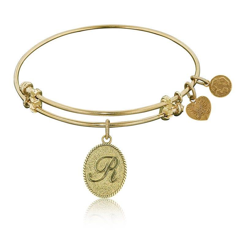 Initial R Charm Bangle Bracelet in Yellow Brass