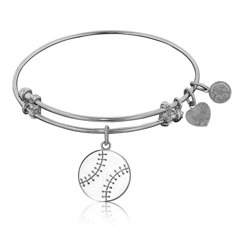 Baseball Charm Bangle Bracelet in White Brass