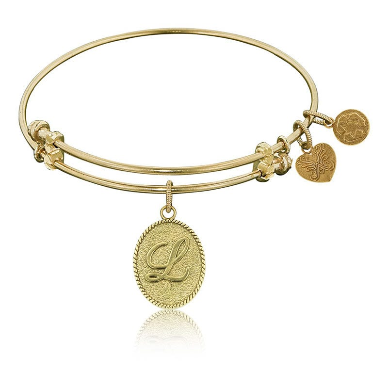 Initial L Charm Bangle Bracelet in Yellow Brass