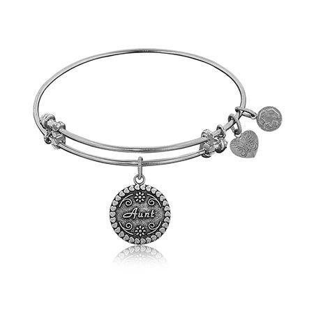 Aunt Charm Bangle Bracelet in White Brass