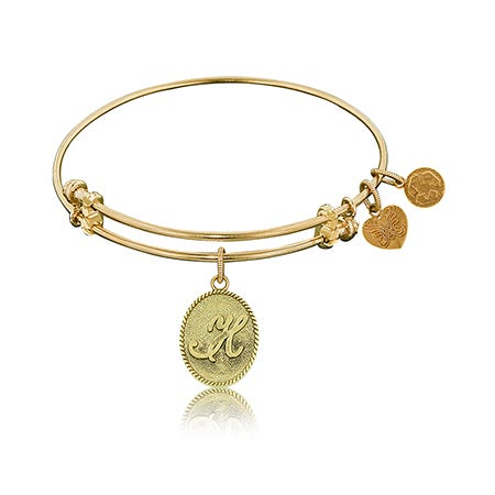 Initial K Charm Bangle Bracelet in Yellow Brass