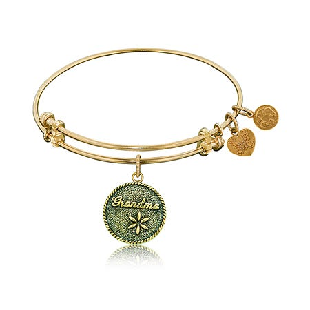 Grandma Charm Bangle Bracelet in Yellow Brass