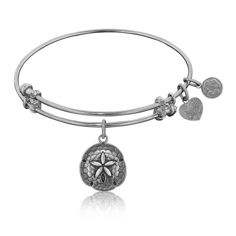 Sand Dollar Charm Bangle Bracelet in White Brass