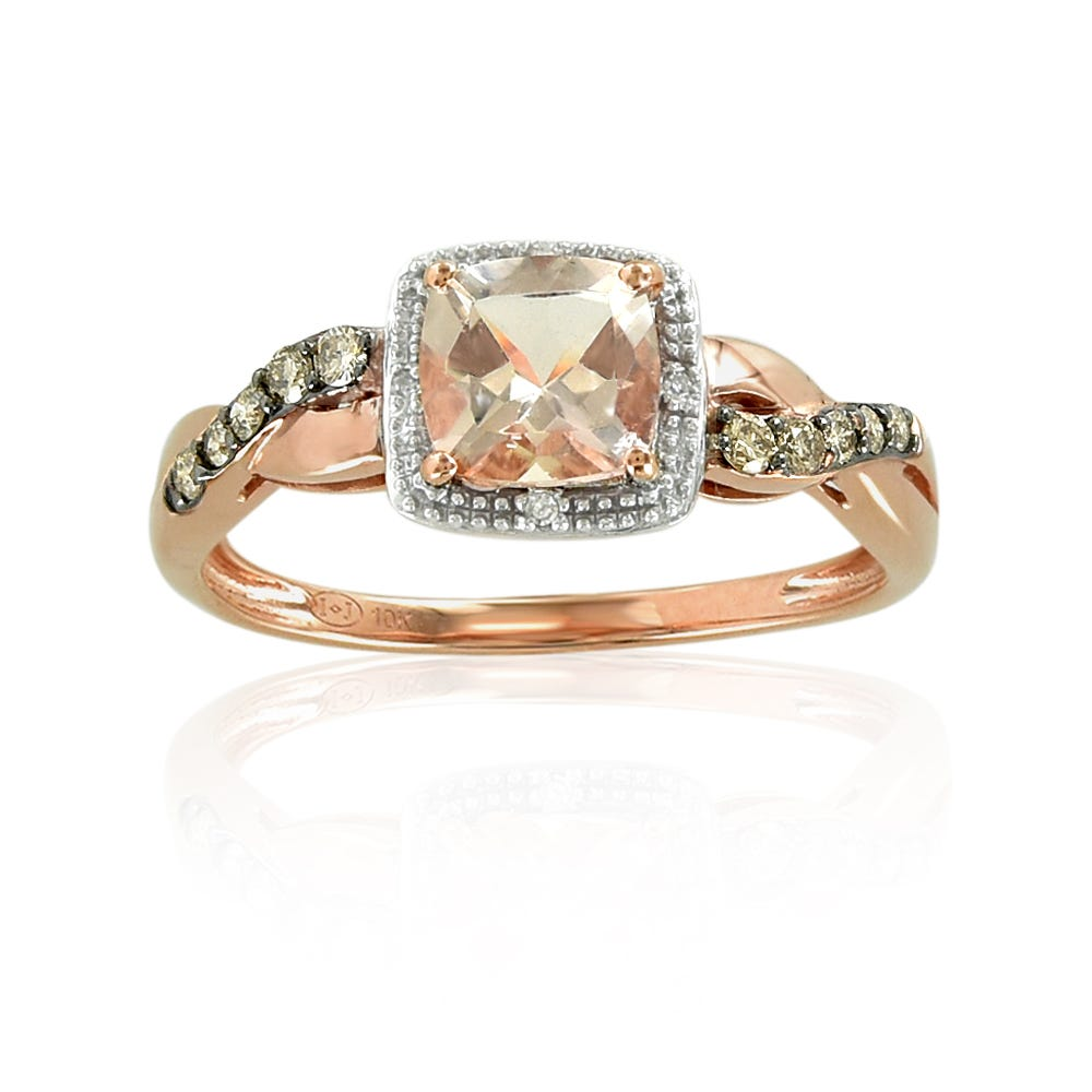 Morganite & Diamond Halo Twist Band Ring in 10k Rose Gold