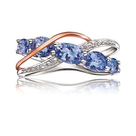 Tanzanite & Diamond Ring in 10k Rose Gold & Sterling Silver