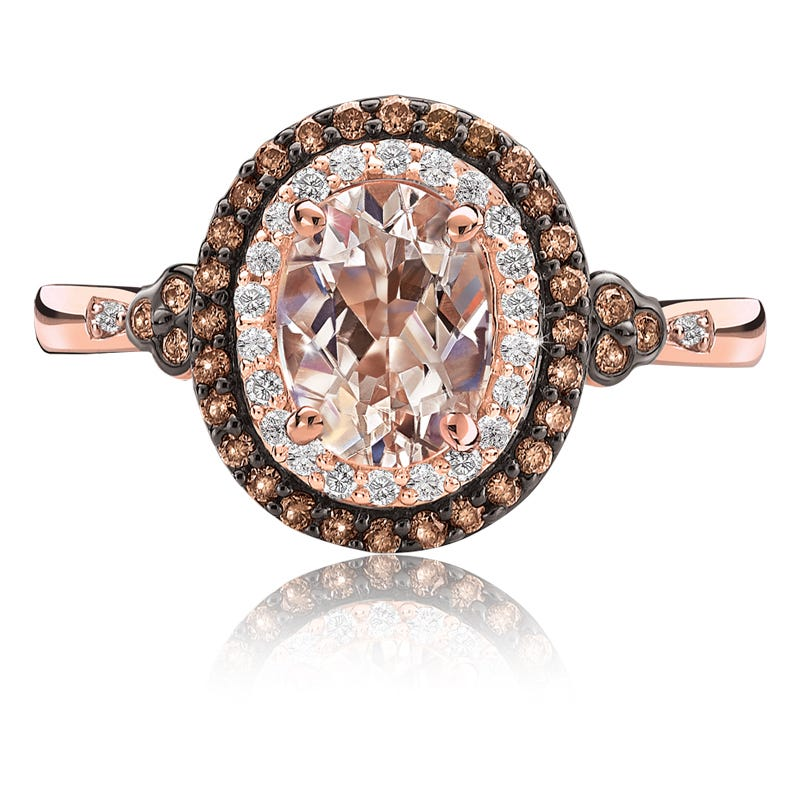 JK Crown® Morganite & Double Diamond Halo Ring in Rose Gold
