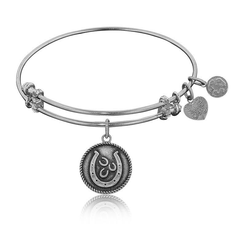 Horseshoe Charm Bangle Bracelet in White Brass