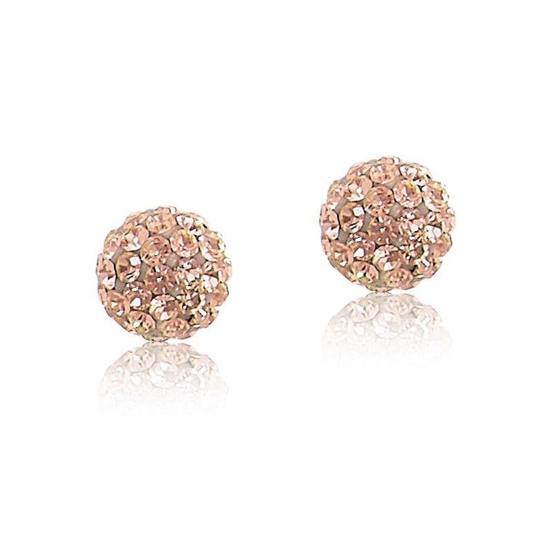Champagne Crystal 6mm Ball Stud Earrings in 14k Yellow Gold