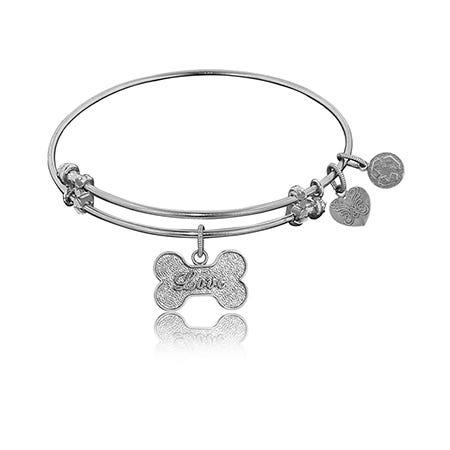 Love Dog Bone Charm Bangle Bracelet in White Brass
