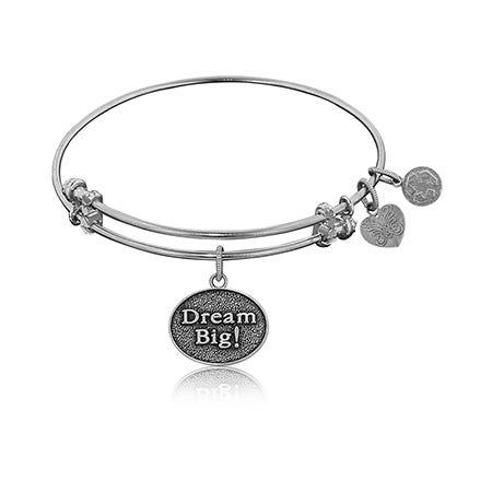 Dream Big Charm Bangle Bracelet in White Brass