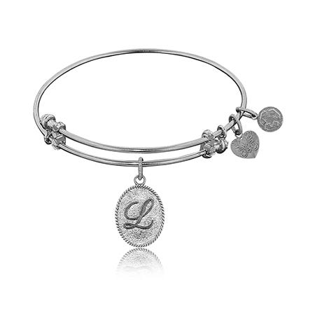 Initial L Charm Bangle Bracelet in White Brass