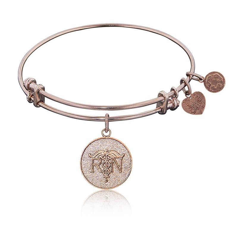 RN Registered Nurse Charm Bangle Bracelet in Pink Brass