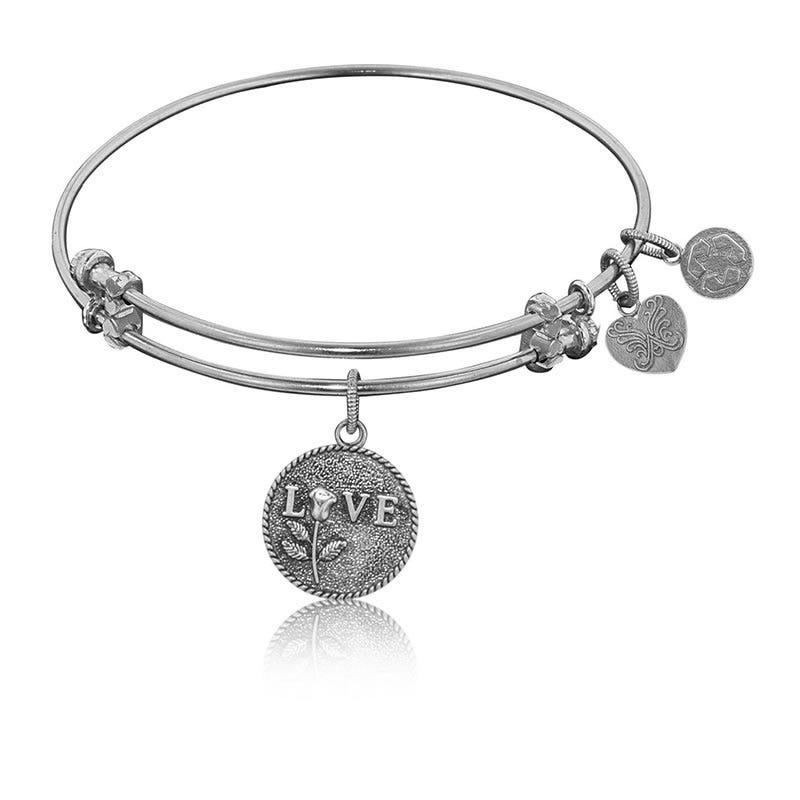 The Perfect Rose Charm Bangle Bracelet in White Brass