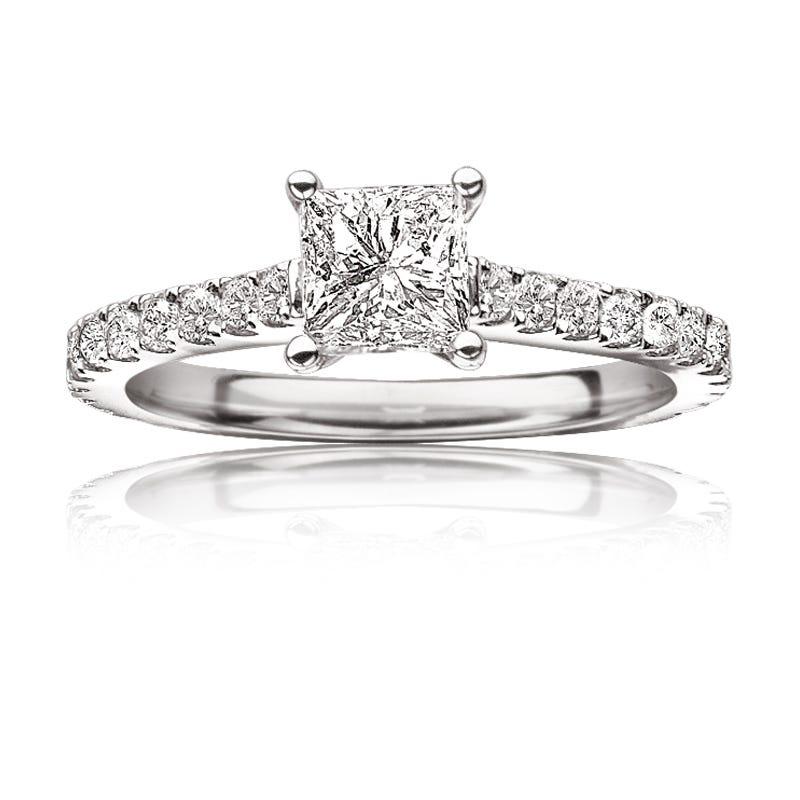 Paulette. 1¼ ctw. Princess & Brilliant-Cut Diamond Engagement Ring