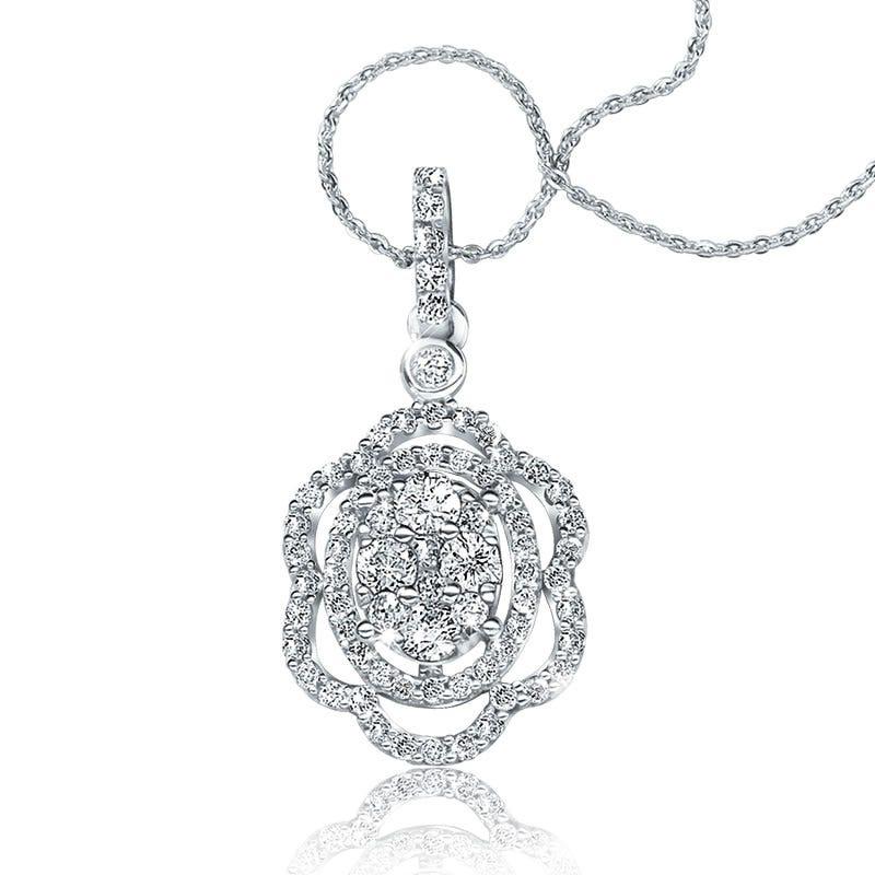 Floral Diamond Oval Cluster Pendant