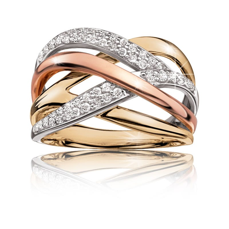 Diamond Crisscross Ring in 10k White, Yellow & Rose Gold