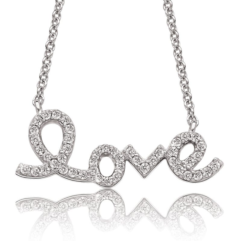 Love Script Diamond Pendant in 10k White Gold