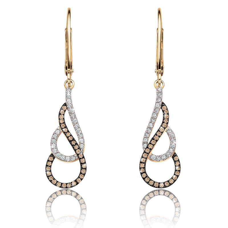 Champagne & White Diamond Dangle Earrings ¼ ct. T.W.