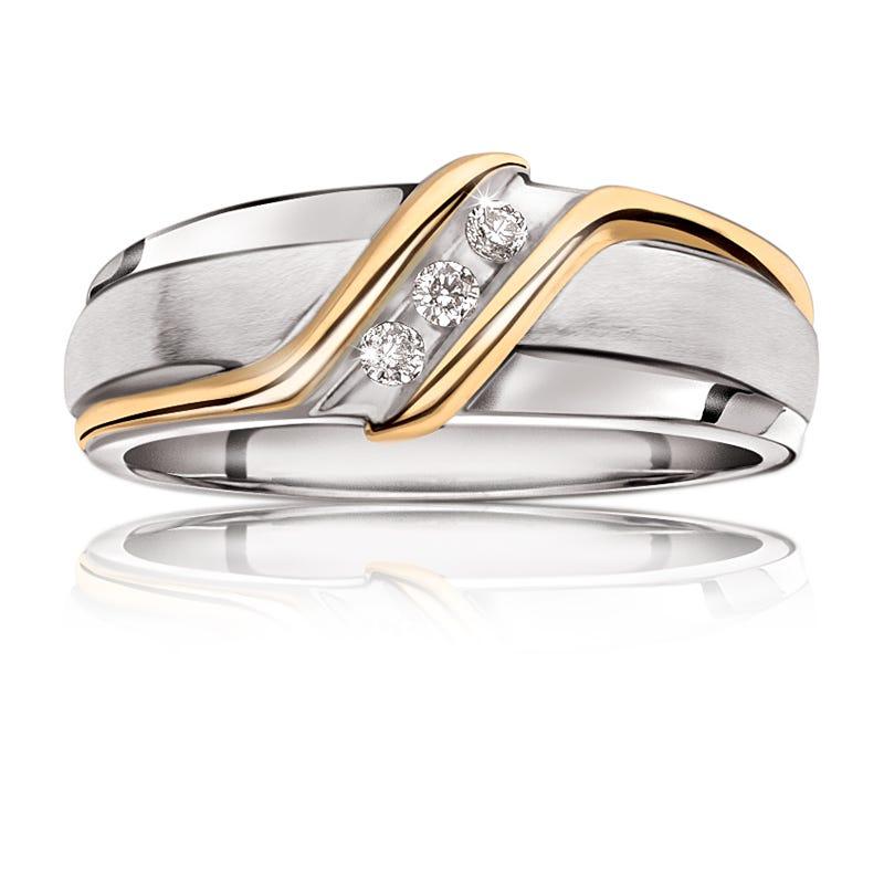 Men's Three-Stone Diamond Diagonal Wedding Band in Yellow & Gold Gold