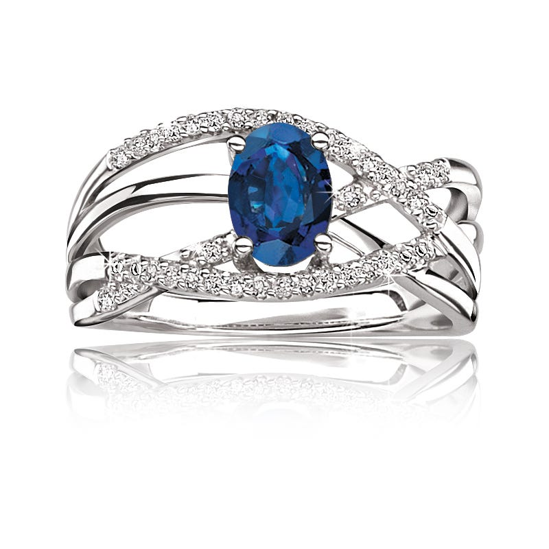 Blue Oval Sapphire & Diamond Ring in 10k White Gold