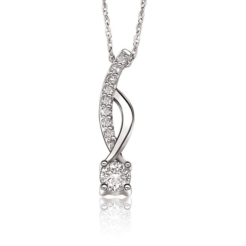 Brilliant-Cut Diamond Fashion Pendant ¼ ct. t.w. in 14k White Gold