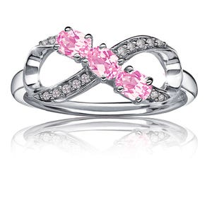 7bb929e7600b9b Created Pink Sapphire & Diamond Infinity Ring in Sterling Silver