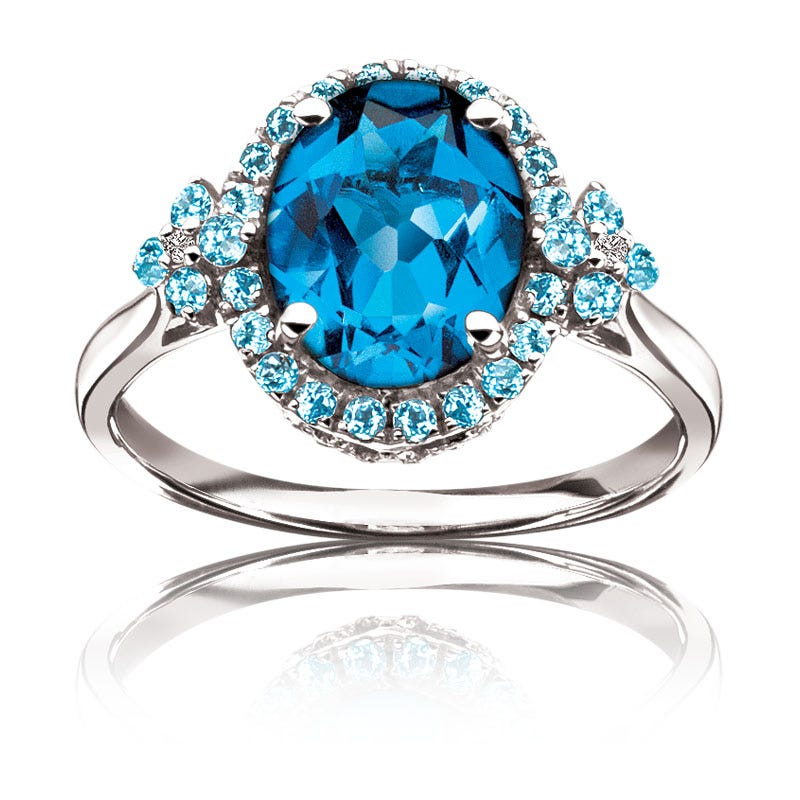 JK Crown® Oval London Blue Topaz 10K White Gold Ring