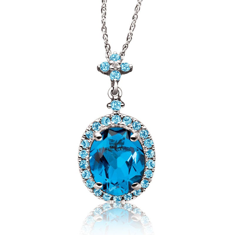 JK Crown® Oval Blue Topaz Gemstone Pendant in 10k White Gold