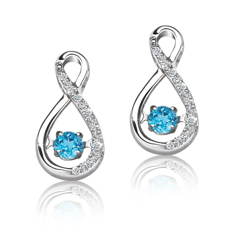 Beats of Love: Blue Topaz & Diamond Infinity Drop Earrings
